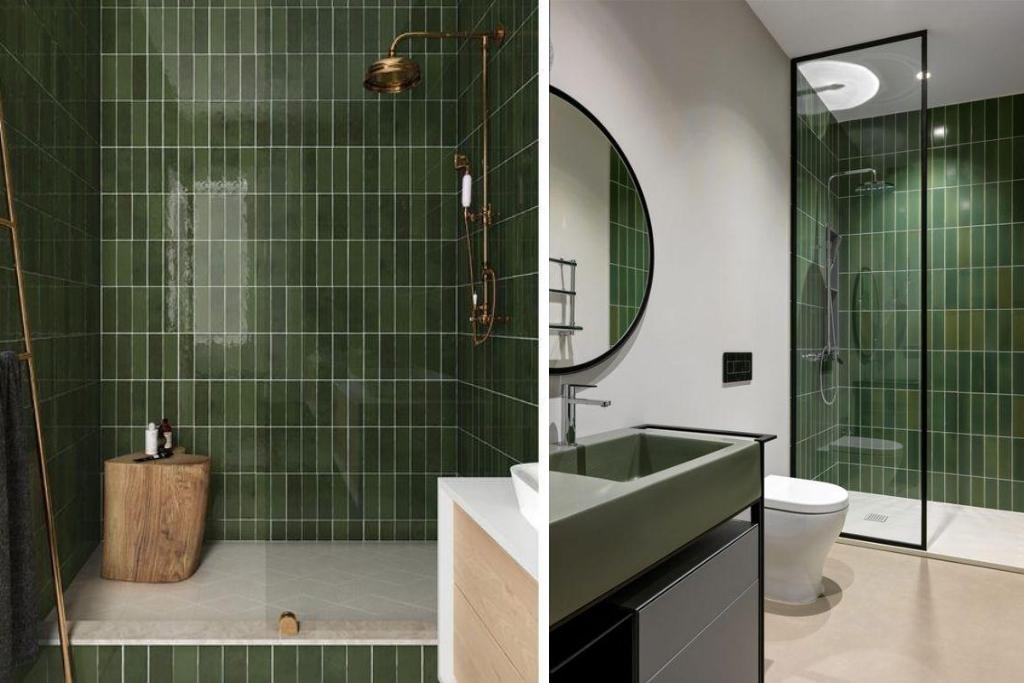 vert bouteille salle de bains