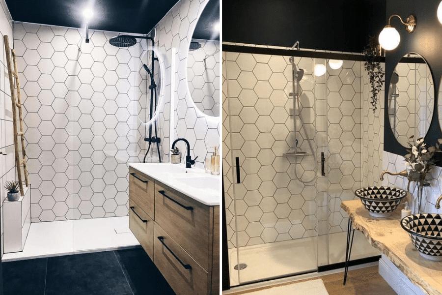 tomettes blanches salle de bain