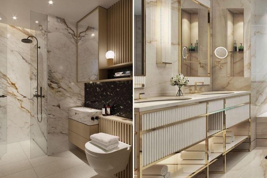 salle de bain marbre doré