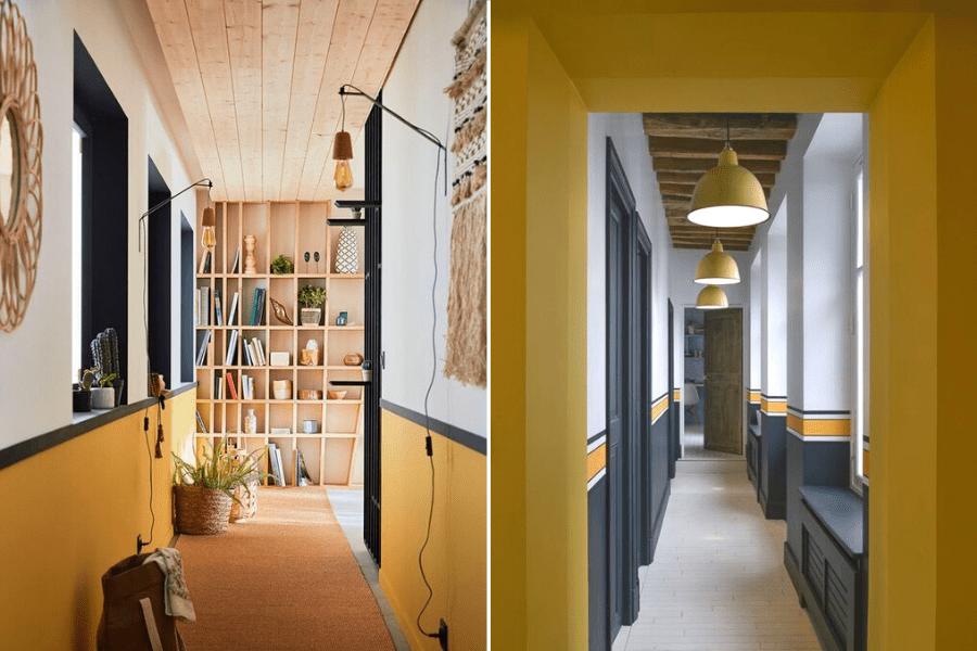 jaune décoration couloir